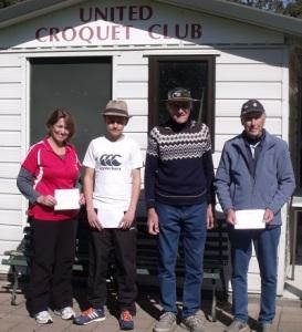 Carolyn Fordyce (runner-up handicap), Edmund Fordyce (winner open), Alan Belcher (winner handicap) and Neil Williams (runner-up open)